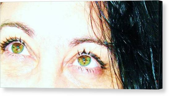 Speckled Eyes Canvas Print by Maria Scarfone