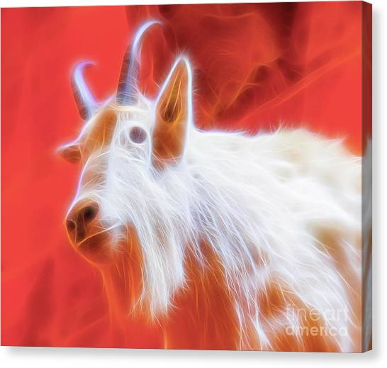 Canvas Print featuring the digital art Spectral Mountain Goat by Ray Shiu