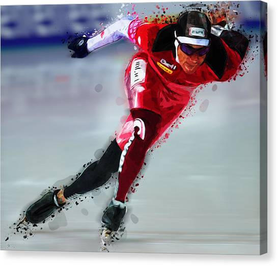 Speed Skating Canvas Print - Speed Skater In Red by Elaine Plesser