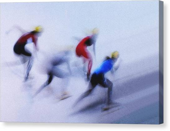 Speed Skating Canvas Print - Speed Skating 1 by Zoran Milutinovic