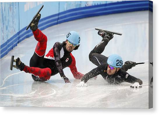 Speed Skating Canvas Print - Speed Skating by Lissa Barone