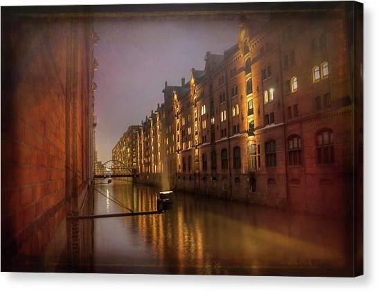 Warehouses Canvas Print - Speicherstadt Hamburg By Night  by Carol Japp