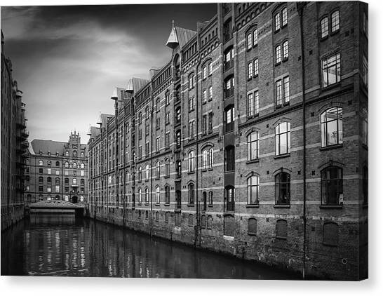 Warehouses Canvas Print - Speicherstadt Hamburg Germany In Black And White by Carol Japp