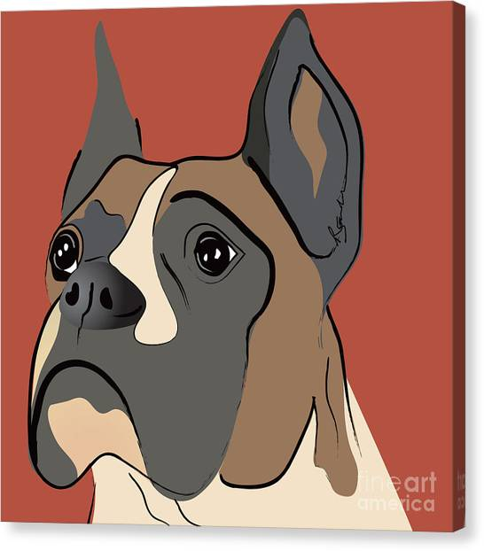 Spencer Boxer Dog Portrait Canvas Print