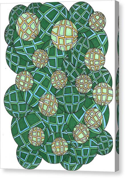 Spheres Cluster Green Canvas Print
