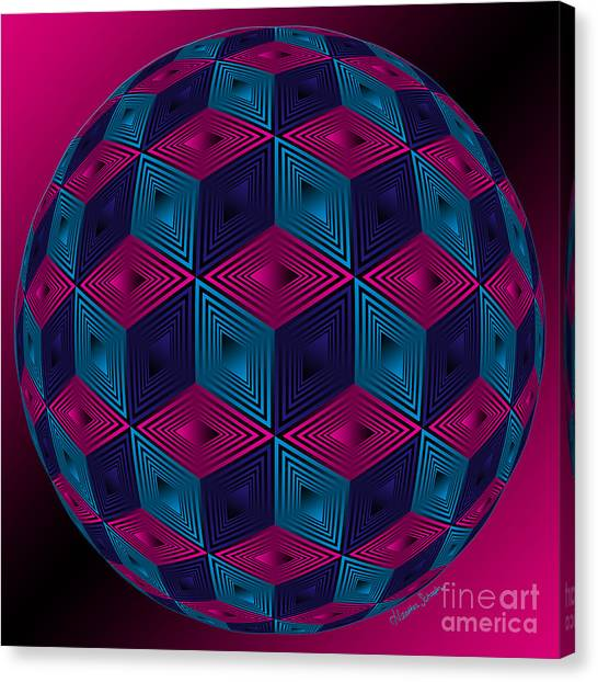 Spherized Pink Purple Blue And Black Hexa Canvas Print