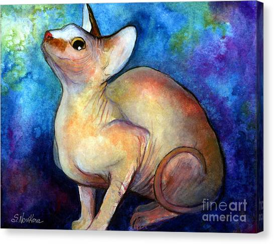 Sphynx Cats Canvas Print - Sphynx Cat 5 Painting by Svetlana Novikova