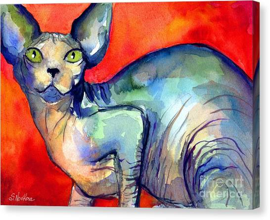 Sphynx Cats Canvas Print - Sphynx Cat 6 Painting by Svetlana Novikova