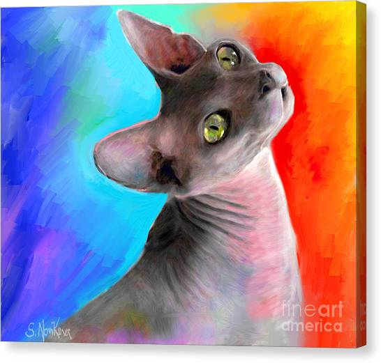 Sphynx Cats Canvas Print - Sphynx Cat Painting by Svetlana Novikova