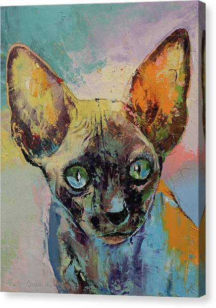 Sphynx Cats Canvas Print - Sphynx Cat Portrait by Michael Creese