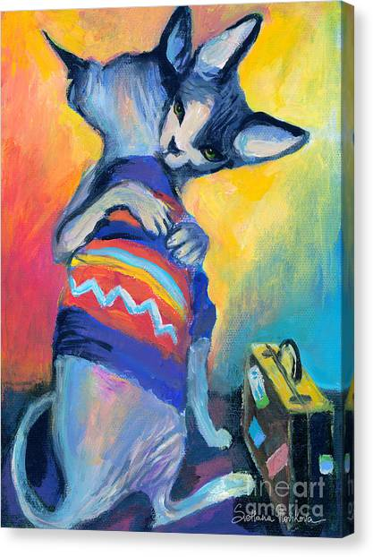 Sphynx Cats Canvas Print - Sphynx Cats Friends by Svetlana Novikova