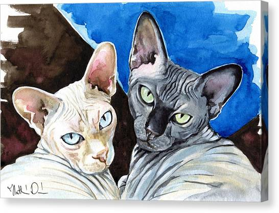 Sphynx Cats Canvas Print - Sphynx Love - Cat Painting by Dora Hathazi Mendes