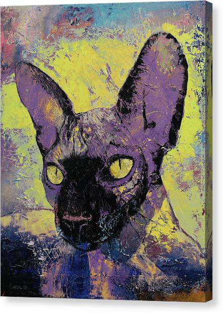Sphynx Cats Canvas Print - Sphynx Cat Painting by Michael Creese