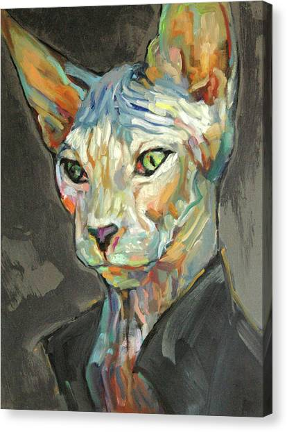Sphynx Cats Canvas Print - Sphynx With Coat by RK Schlueter