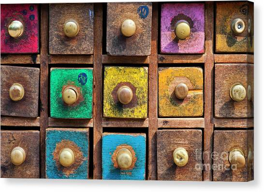 Drawers Canvas Print - Spice Drawers Pattern by Tim Gainey