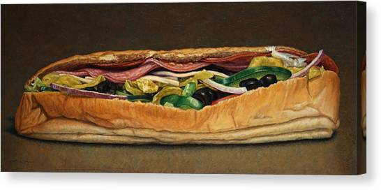 Sandwich Canvas Print - Spicy Italian by James W Johnson