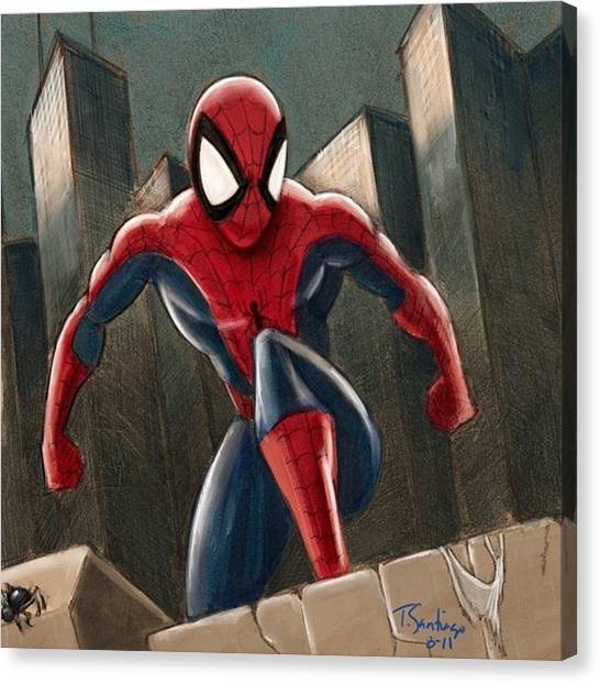 Spiders Canvas Print - Spider-man by Tony Santiago