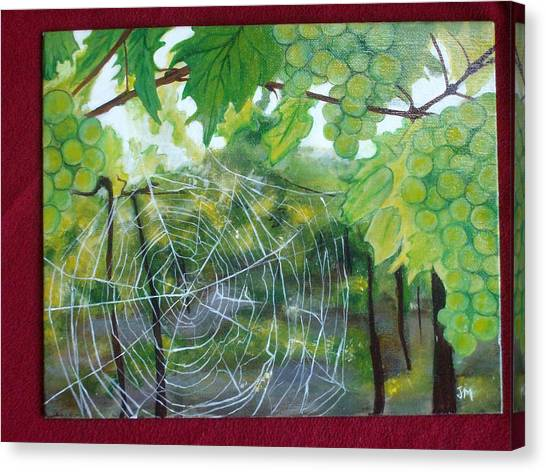 Spider Web In Spring Canvas Print by Jessica Meredith