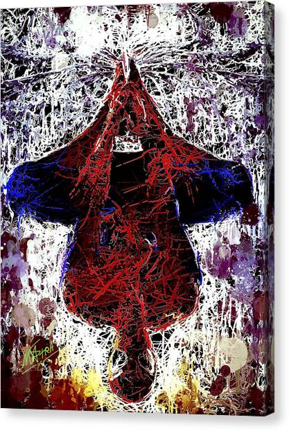 Spiderman Hanging Around Canvas Print