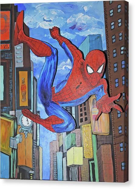 Spiderman Swings Canvas Print