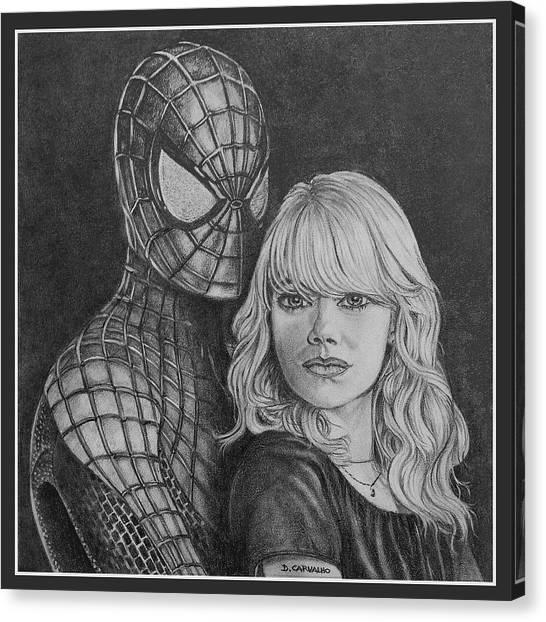Spidey And Gwen Canvas Print