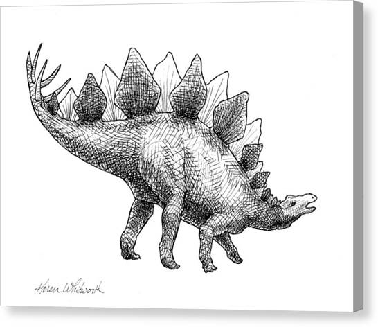 Jurassic Park Canvas Print - Spike The Stegosaurus - Black And White Dinosaur Drawing by Karen Whitworth