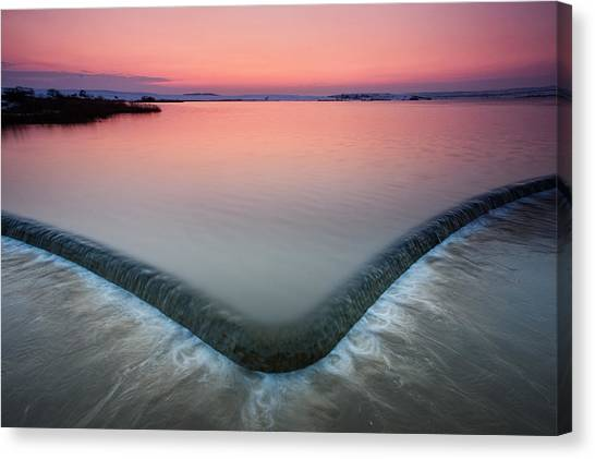 Lake Sunsets Canvas Print - Spillway by Evgeni Dinev