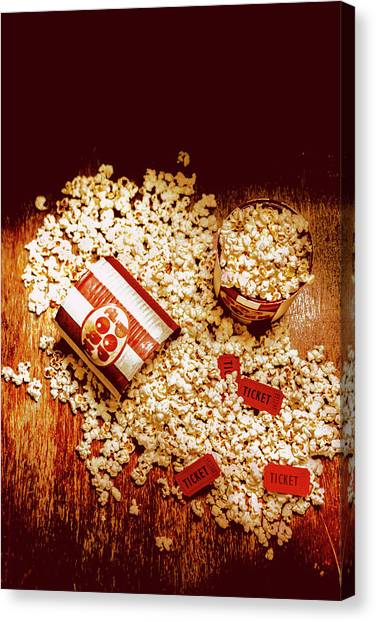 Popcorn Canvas Print - Spilt Tubs Of Popcorn And Movie Tickets by Jorgo Photography - Wall Art Gallery