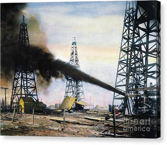Spindletop Oil Pool, C1906 Canvas Print