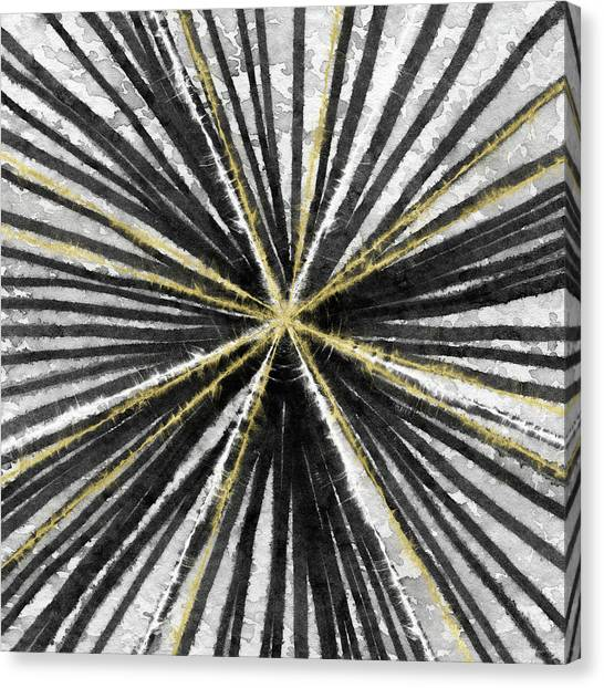 Grey Canvas Print - Spinning Black And Gold- Art By Linda Woods by Linda Woods