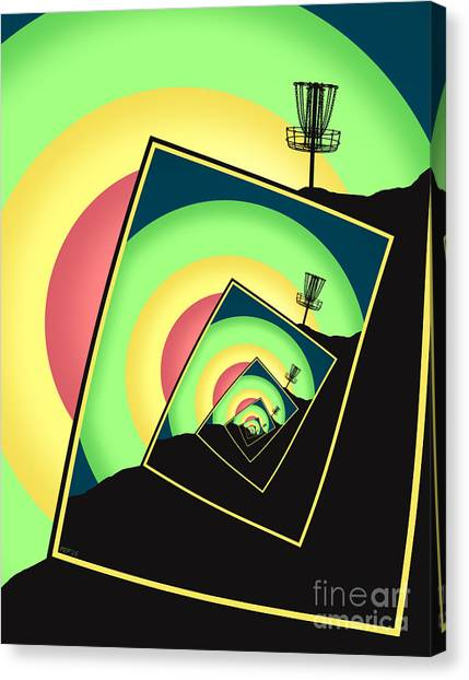 Disc Golf Canvas Print - Spinning Disc Golf Baskets 5 by Phil Perkins