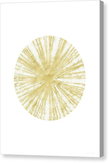 Triangle Canvas Print - Spinning Gold Ball Art By Linda Woods by Linda Woods