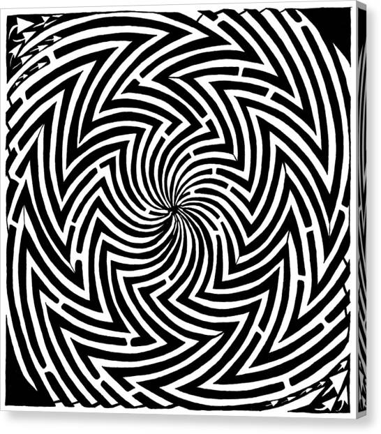 Spinning Optical Illusion Maze Canvas Print by Yonatan Frimer Maze Artist