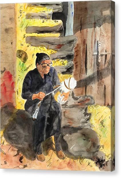 Spinning Wool Canvas Print by Joyce Ann Burton-Sousa