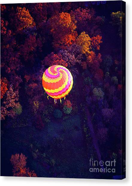 Spiral Colored Hot Air Balloon Over Fall Tree Tops Mchenry   Canvas Print