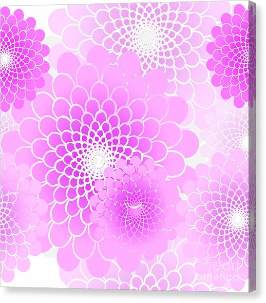 Rain Canvas Print - Spiral Flowers Leaves Pattern, Geometric Magenta Pink Floral by Tina Lavoie
