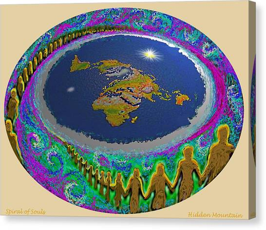 Spiral Of Souls Flat Earth Canvas Print