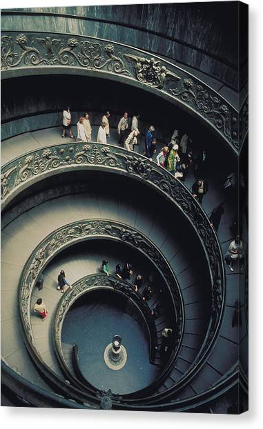Spiral Staircase In Vatican 2 Canvas Print by Carl Purcell