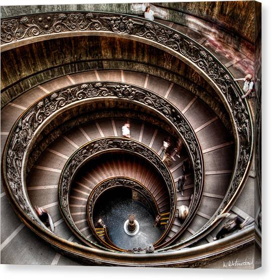 The Vatican Museum Canvas Print - Spiral Staircase No1 by Weston Westmoreland
