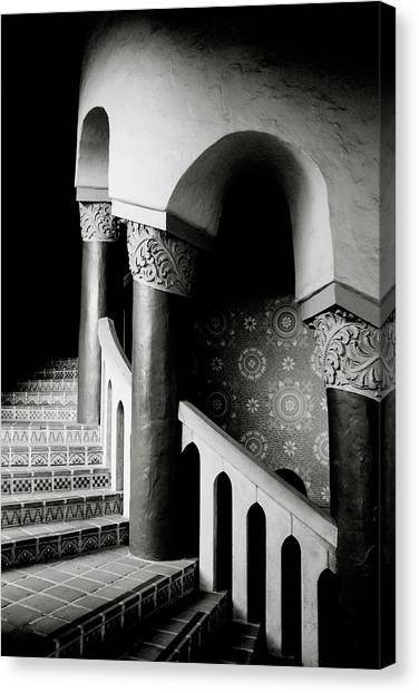 Historic House Canvas Print - Spiral Stairs- Black And White Photo By Linda Woods by Linda Woods