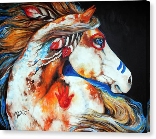 War Horse Canvas Print - Spirit Indian War Horse by Marcia Baldwin