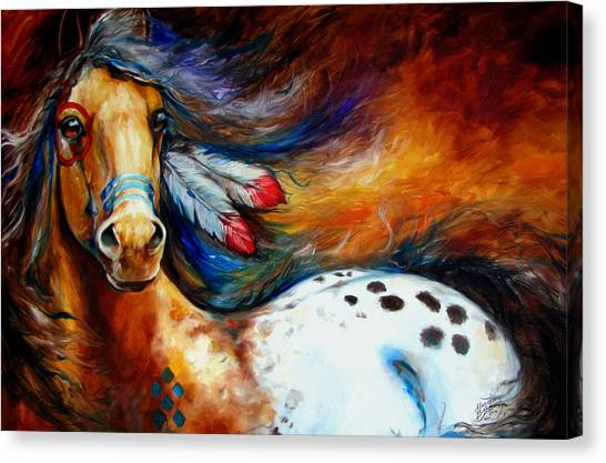 Equine Canvas Print - Spirit Indian Warrior Pony by Marcia Baldwin