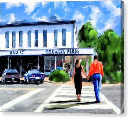 Canvas Print featuring the mixed media Spirit Of Auburn - Toomer's Corner by Mark Tisdale