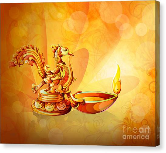 Diwali Canvas Print - Spirit Of Diwali by Peter Awax