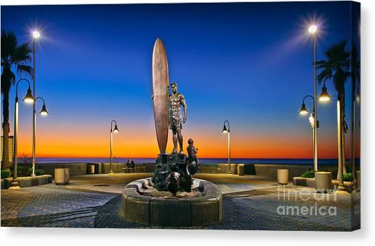 Spirit Of Imperial Beach Surfer Sculpture Canvas Print