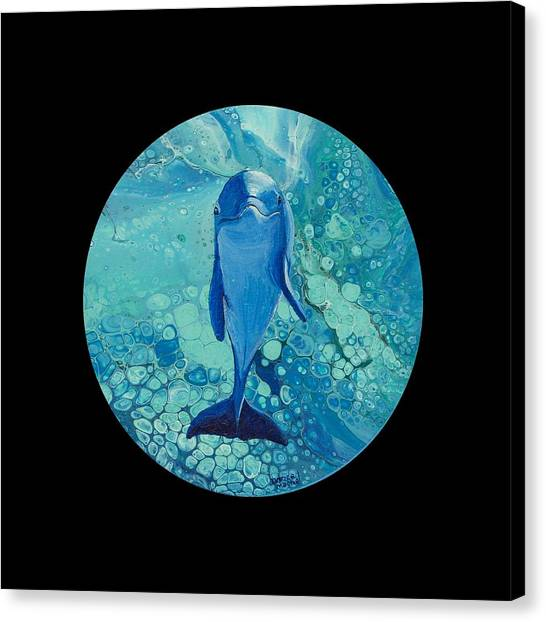 Canvas Print featuring the painting Spirit Of The Ocean On Black by Darice Machel McGuire