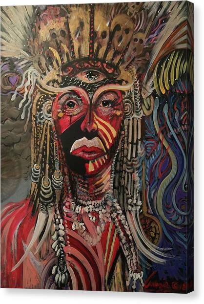Canvas Print featuring the painting Spirit Portrait by Amzie Adams