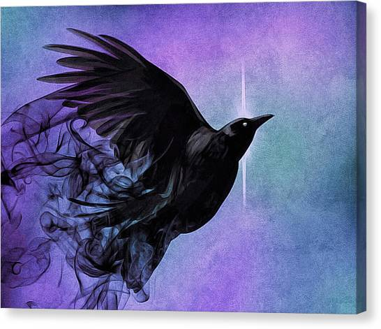 Canvas Print featuring the digital art Spirit Raven by Susan Maxwell Schmidt