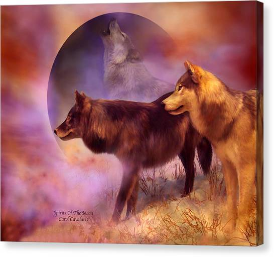 Howling Wolves Canvas Print - Spirits Of The Moon by Carol Cavalaris