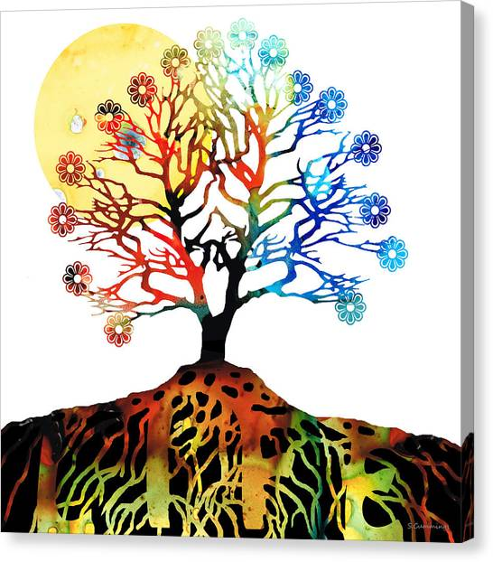 Judaism Canvas Print - Spiritual Art - Tree Of Life by Sharon Cummings